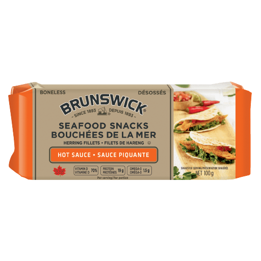 Brunswick<sup>&reg;</sup> Seafood Snacks in Hot Sauce – 100g